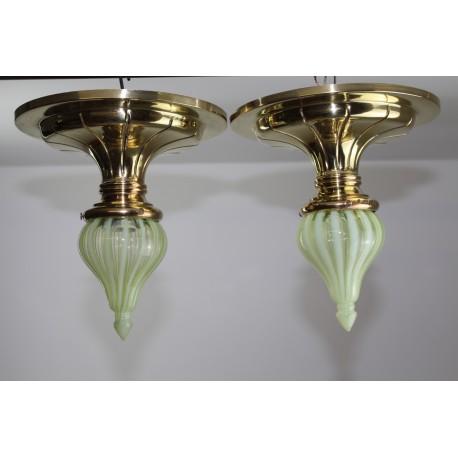 Jugendstil Opalglas Deckenleuchten 1900